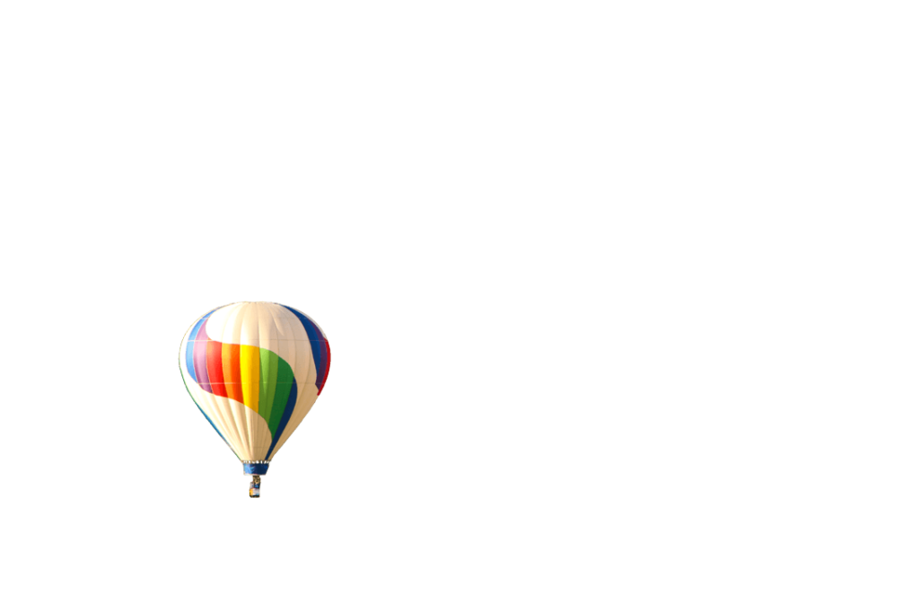 Balloon Fest rainbow-colored hot air balloon