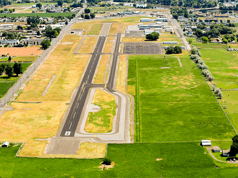 Prosser Airport aerial from the West