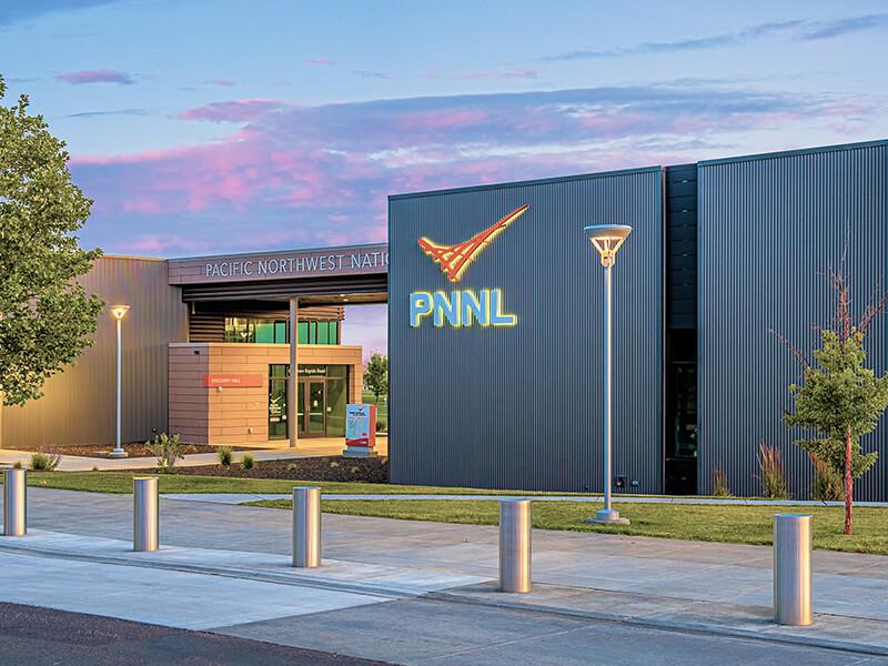 PNNL Building with lit sign