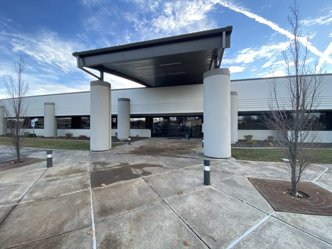 a picture of the entrance to a space for lease